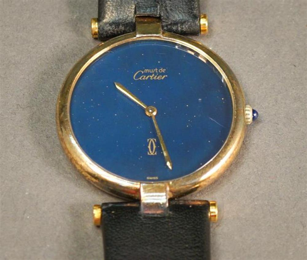 Must de Cartier Vermeil Sterling Silver Quartz Wristwatch with Leather Band, Numbered 17/073708, Diameter: 31mm
