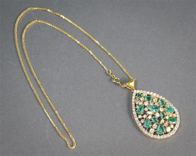 14-Karat Yellow-Gold, Emerald, Diamond and Colored Diamond Pendant Necklace, Length of Chain: 15-1/2 in; L of pendant: 1-7/8 in