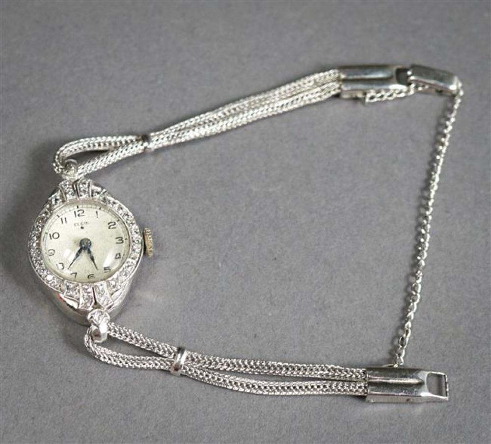 Ladies Elgin Platinum and Diamond 17-Jewel Manual Wind Wristwatch with White Gold Filled Band