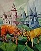 Jeanne Rij-Rousseau (French 1870-1956), Bulls, oil on canvas, 28 x 23 in