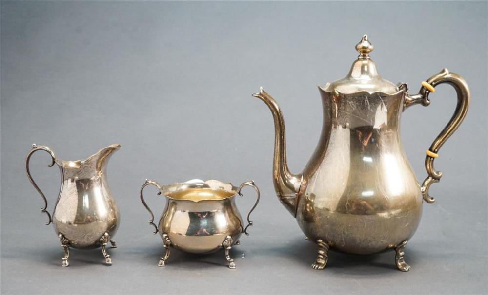 Preisner Sterling Silver Coffee Pot and Wallace Sterling Silver Sugar and Creamer, 27.2 oz