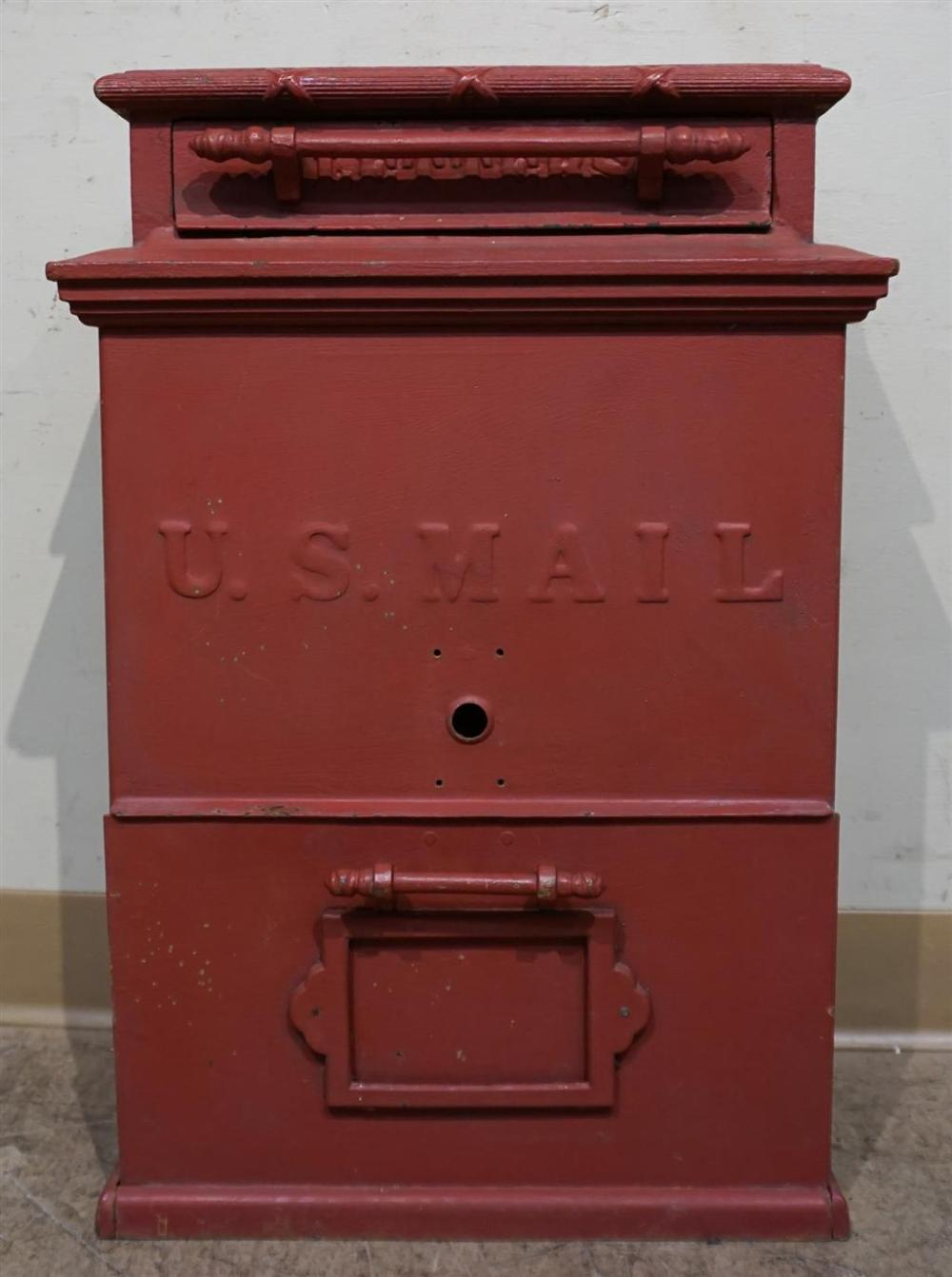 Red Painted Cast Iron U.S. Mail Letter Drop Box