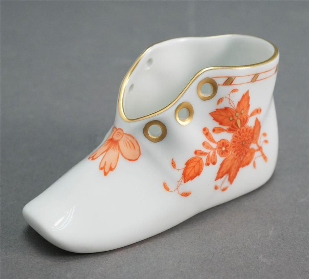Herend Chinese Bouquet Rust/Apponyi Orange Porcelain Youth Shoe