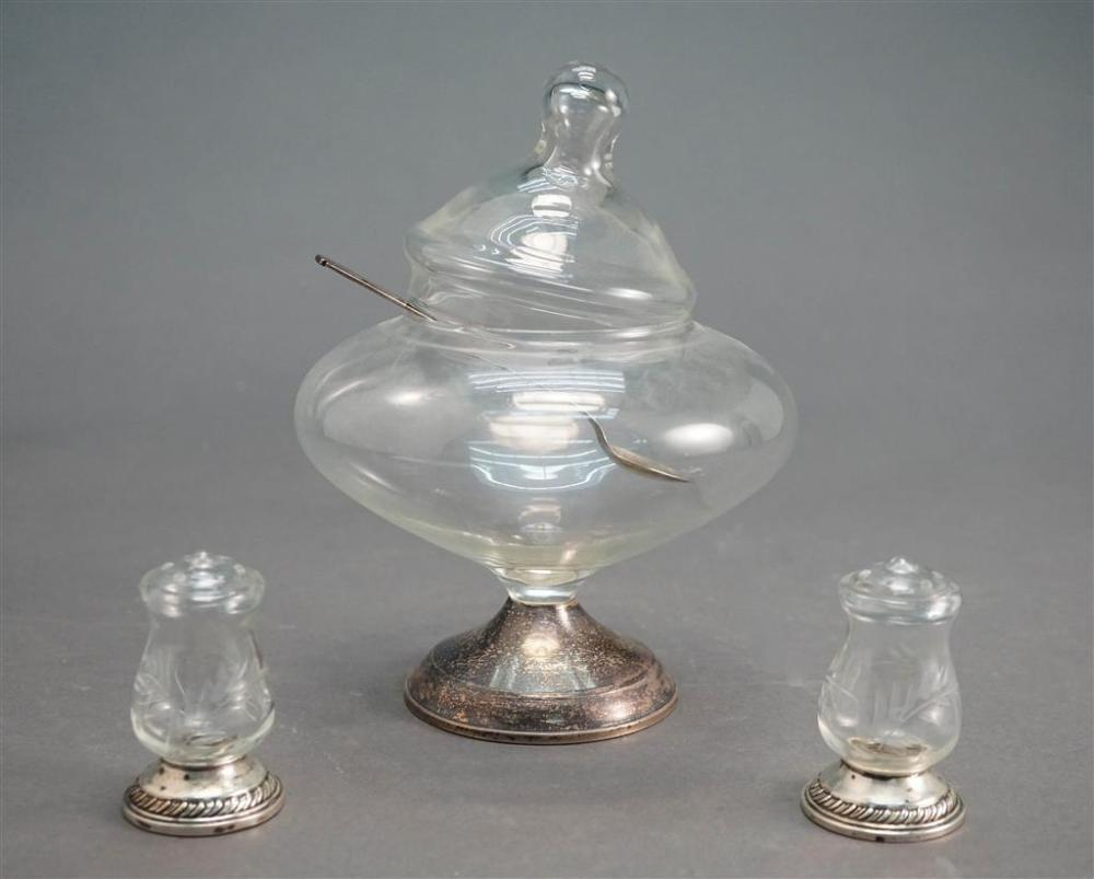 Glass Bonbonerie and Two Shakers with Weighted Sterling Bases and Sterling Silver Teaspoon by Lunt