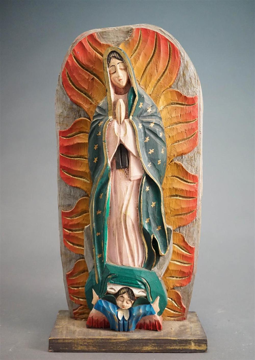 Santos Type Painted Carved Wood Niche Sculpture for the Elevation of a Female Saint, H: 18-1/2 in
