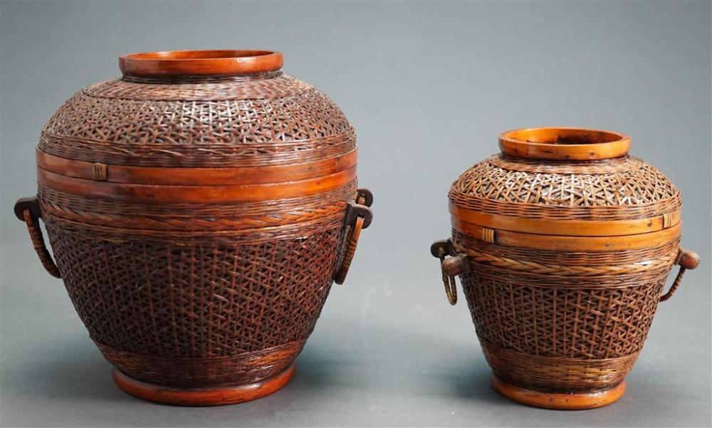 Two Chinese Stained and Woven Bamboo Basket-Form Cricket Cages, H of Larger: 7-5/8 in