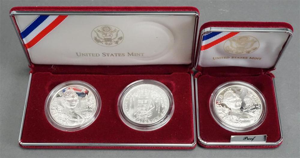 Two Dolley Madison 1999 Commemorative Two-Coin Proofs and Uncirculated Silver Dollars
