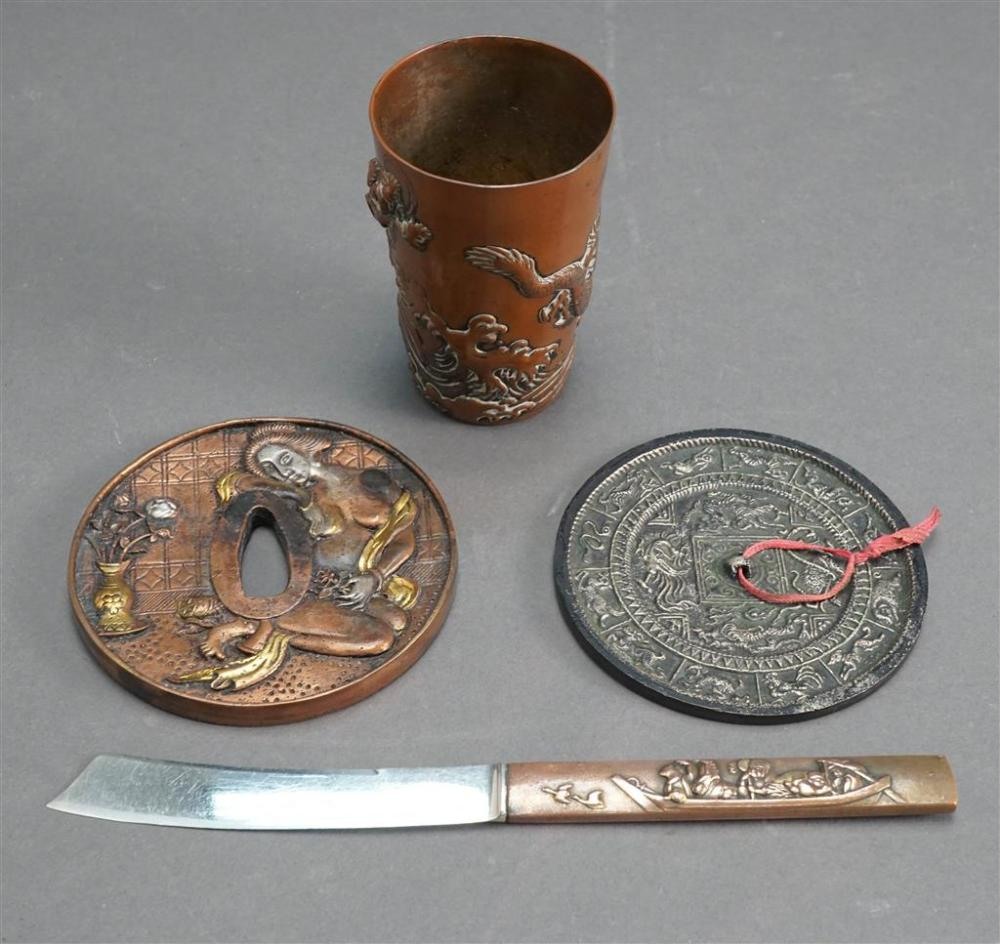 Japanese Bronze Cup, Tsuba, a Mirror and a Bronze Mounted Knife