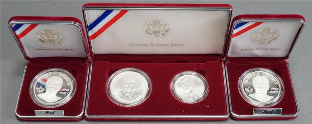 Two Robert F. Kennedy Commemorative Proof Silver Dollars and 1998 Kennedy Two-Coin Silver Collector's Set