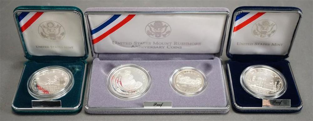 1991-S Mount Rushmore Clad 1/2 Dollar and Silver Dollar Set, Botanic Garden and Smithsonian Commemorative Silver Dollars