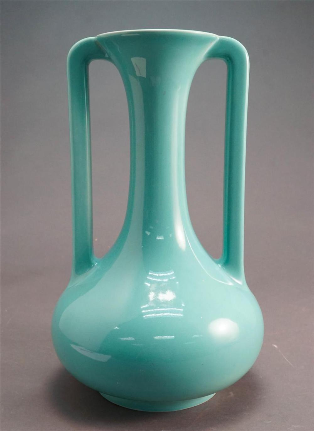 Trenton Pottery Turquoise Glazed Two Handle Vase, H: 16 in