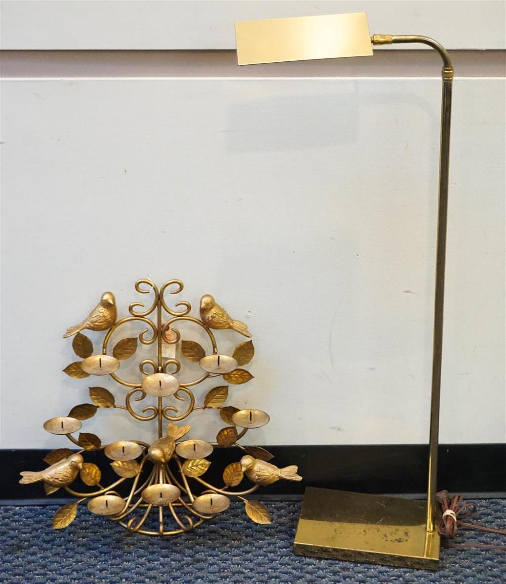 Grand Millennial Style 10-Light Gilt-Metal Candelabrum with Brass Finished Adjustable Floor Lamp, H of smaller: 18-1/2 in