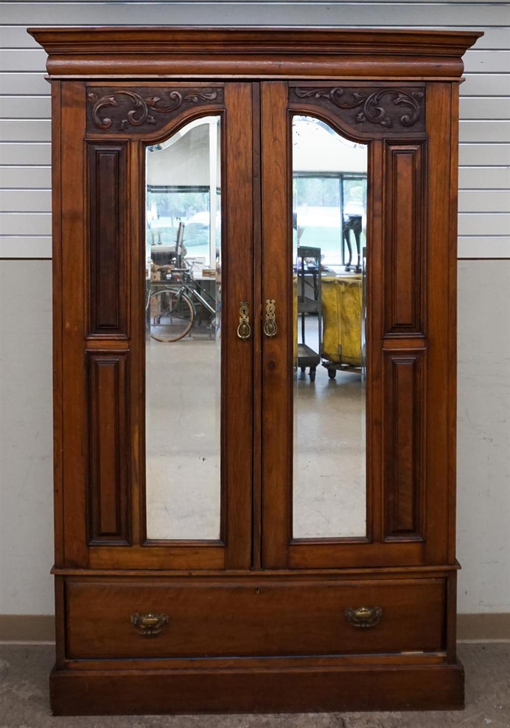 Victorian Walnut Mirrored Door Armoire, H: 75-1/4; W: 48-3/4; D: 18-3/4 in