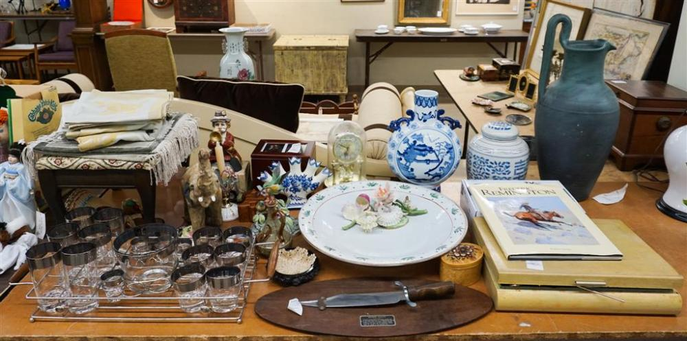 Various Decorative and Domestic Articles, including Ceramic Figurines, Art Deco Style Bar Tray and Reproduction Bowie Knife