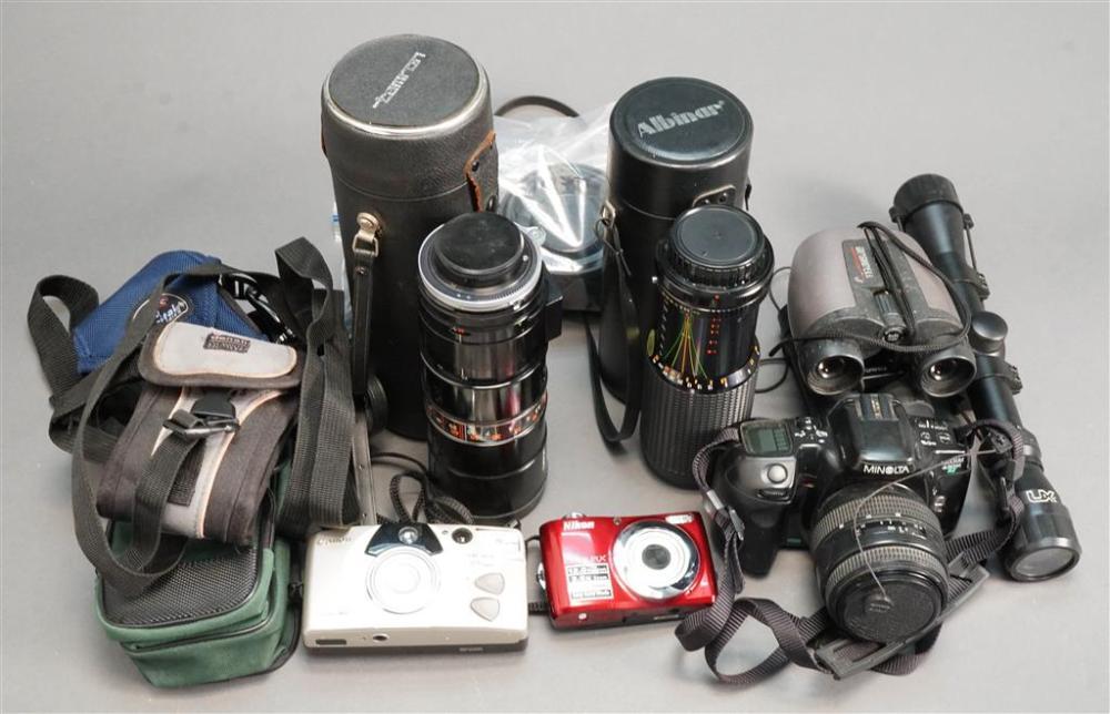 Collection of Cameras, Scopes, and Camera Accessories, Including: Minolta Maxxum, Canon Sure Shot, Nikon Coolpix, and Lenses