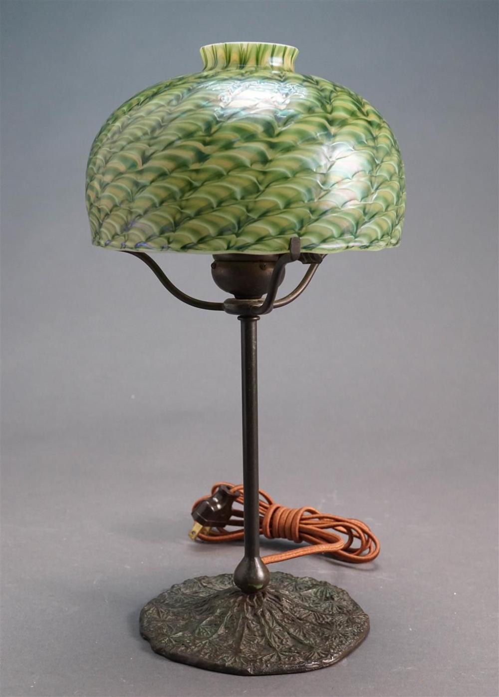 Lundberg Studios Art Glass Shade with a Bronzed Finish Iron Base, H overall: 13-3/4, D of shade: 7 in