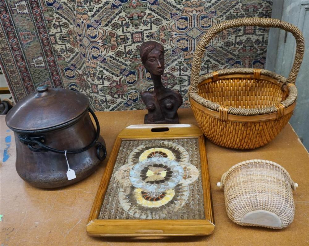 Butterfly Wing-Mounted Tray, Plaster Bust, a Copper Covered Vessel and Two Baskets