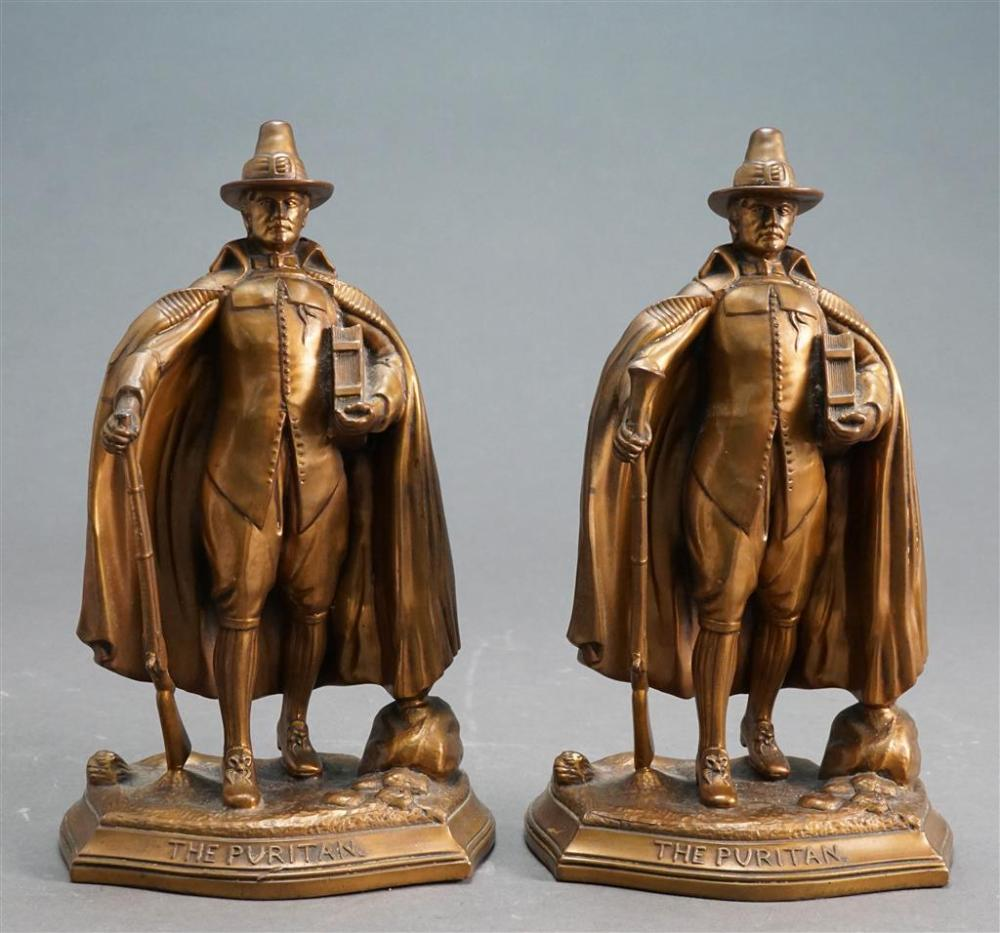 Pair 'The Puritan' Patinated Metal Bookends, H: 9-1/2 in