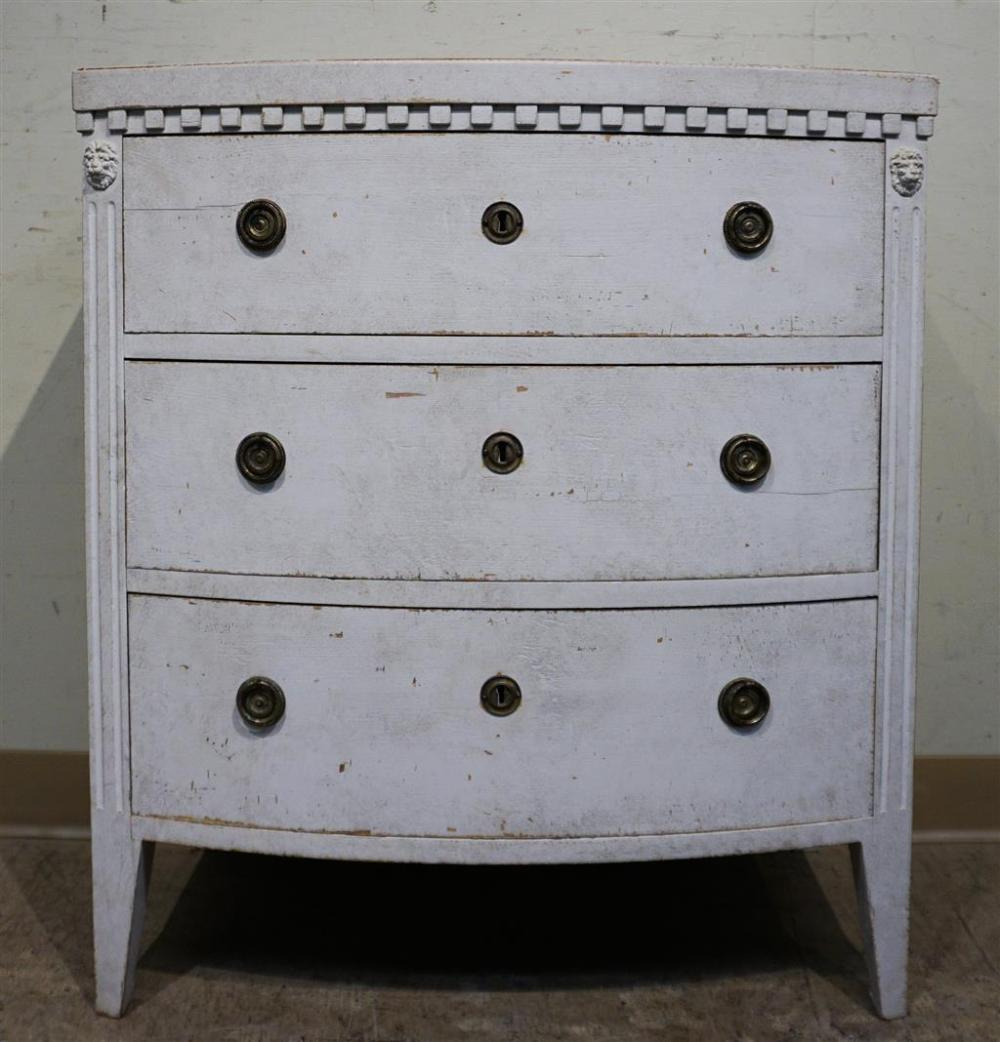 George III Style Gray Painted Bow Front Side Chest, H: 32, W: 28, D: 18-1/2 in