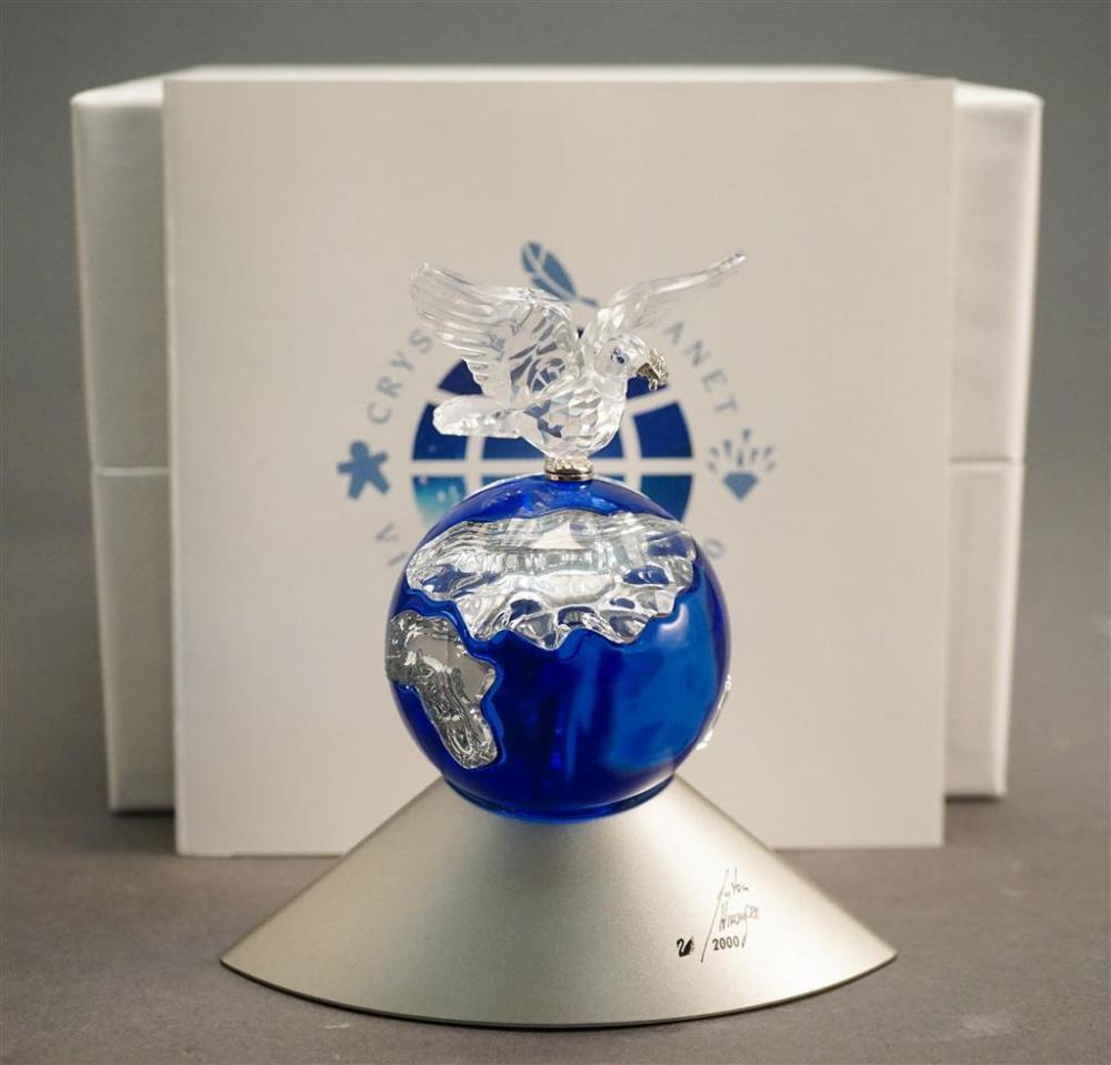 Anton Hirzinger for Swarovski Crystal Planet Vision 2000 Sculpture, H: 4-3/4 in