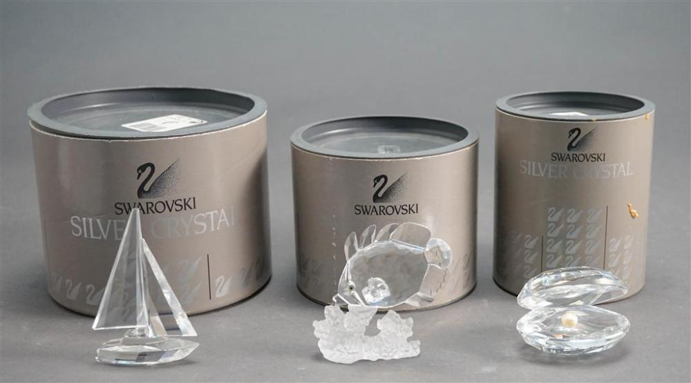 Three Swarovski Maritime Theme Crystal Miniatures, consisting of: Fish, Boat and Oyster with Pearl, H of tallest: 3-1/2 in