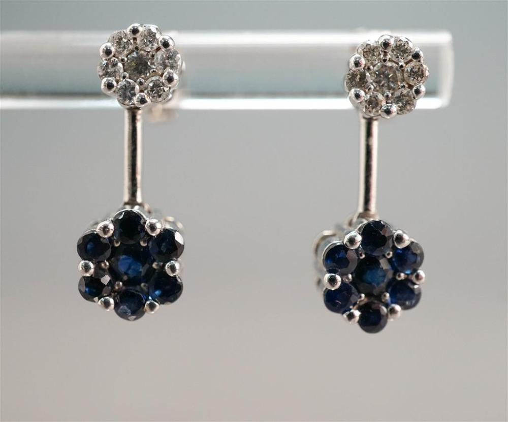 Pair of 14-Karat White-Gold, Diamond and Blue Sapphire Pierced Pendant Earrings, 2 gdwt