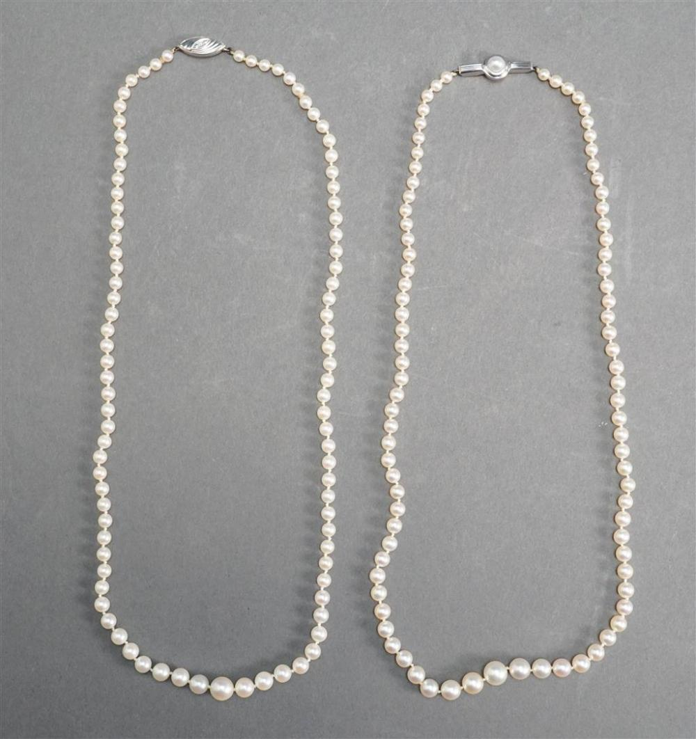 Two 14-Karat White-Gold Graduated Cultured Pearl Necklaces, L of longer: 19 in