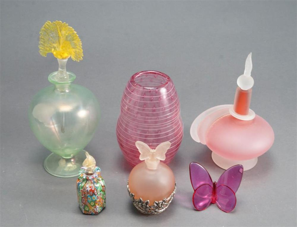 Four Art Glass Perfumes, Pizzichillo Garden Vase and Baccarat Butterfly