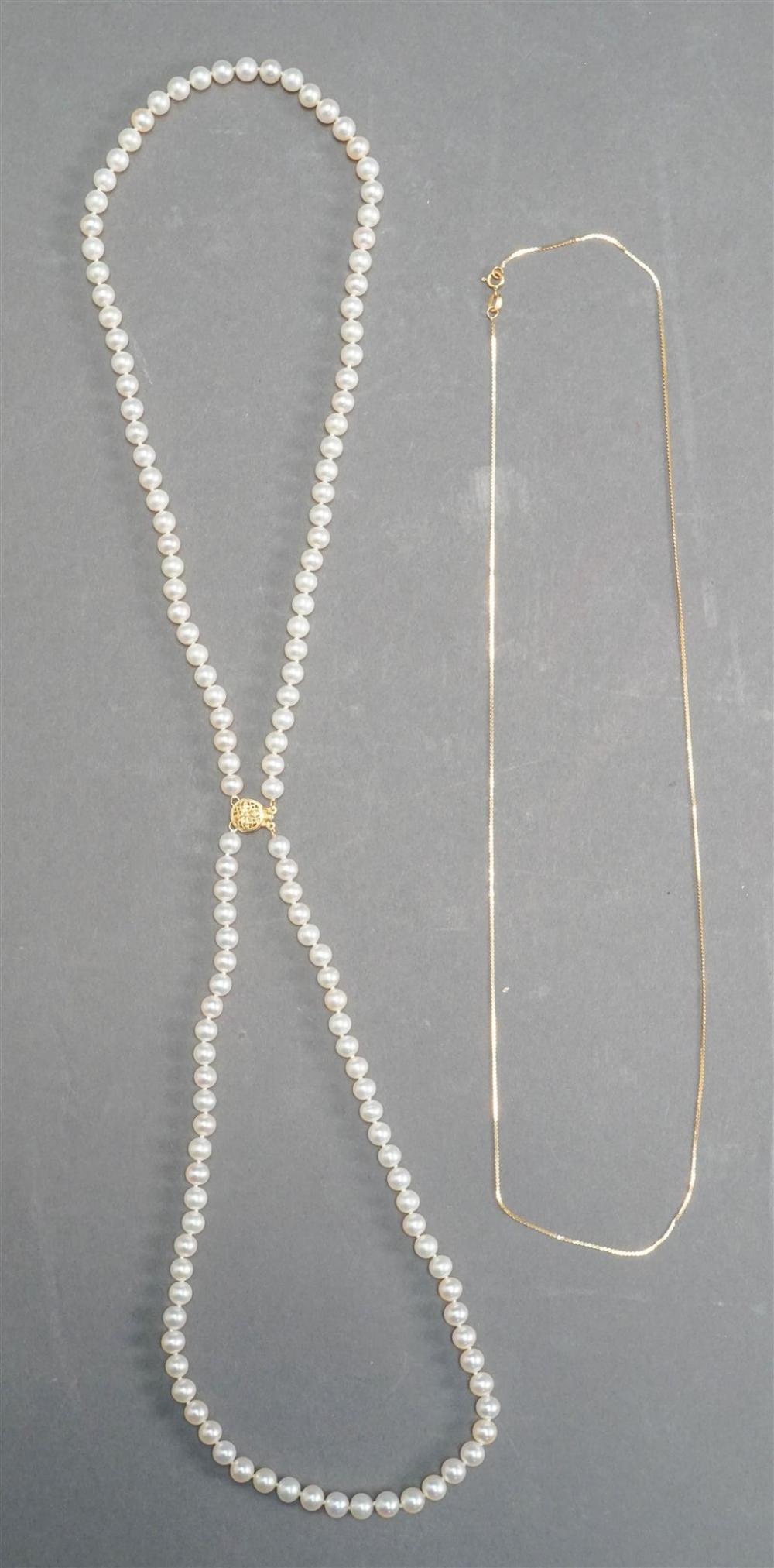 14-Karat Yellow-Gold Pearl Double Strand Necklace and 14-Karat Yellow-Gold Thin Necklace (1.5 dwt)