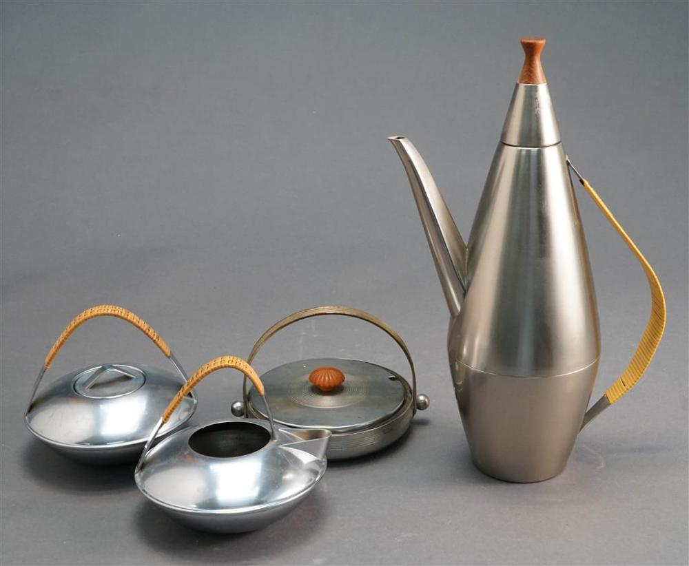 Ben Seibel for Raymor Teak and Caned Mounted Chrome Three-Piece Tea Set and a Chase Art Deco Bakelite Mounted Chrome Dish