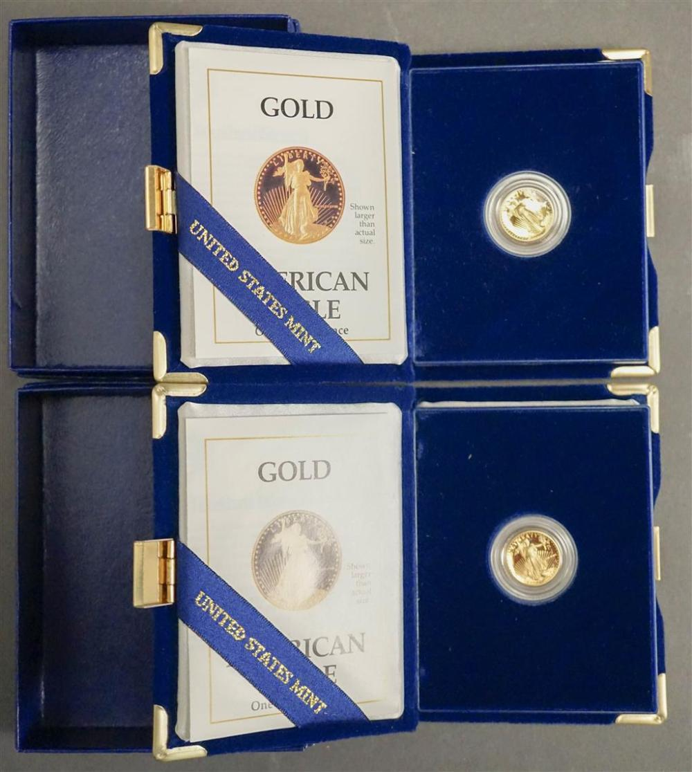 Two American Eagle 1988 1/10 ounce Proof Gold Bullion Coins