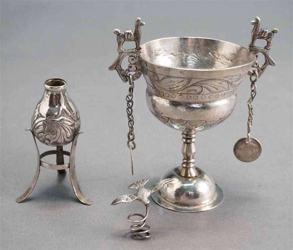 South American 900-Silver Chalice and a Vase, 5.2 oz
