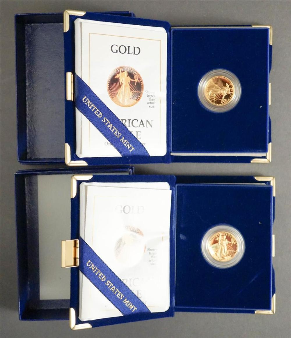Two American Eagle 1988 1/4 ounce Proof Gold Bullion Coins