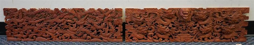 Pair of Southeast Asian Rouge Lacquer Wood 'Phoenix' Carved Pierced Wood Panels, each 9 x 31-1/4 in