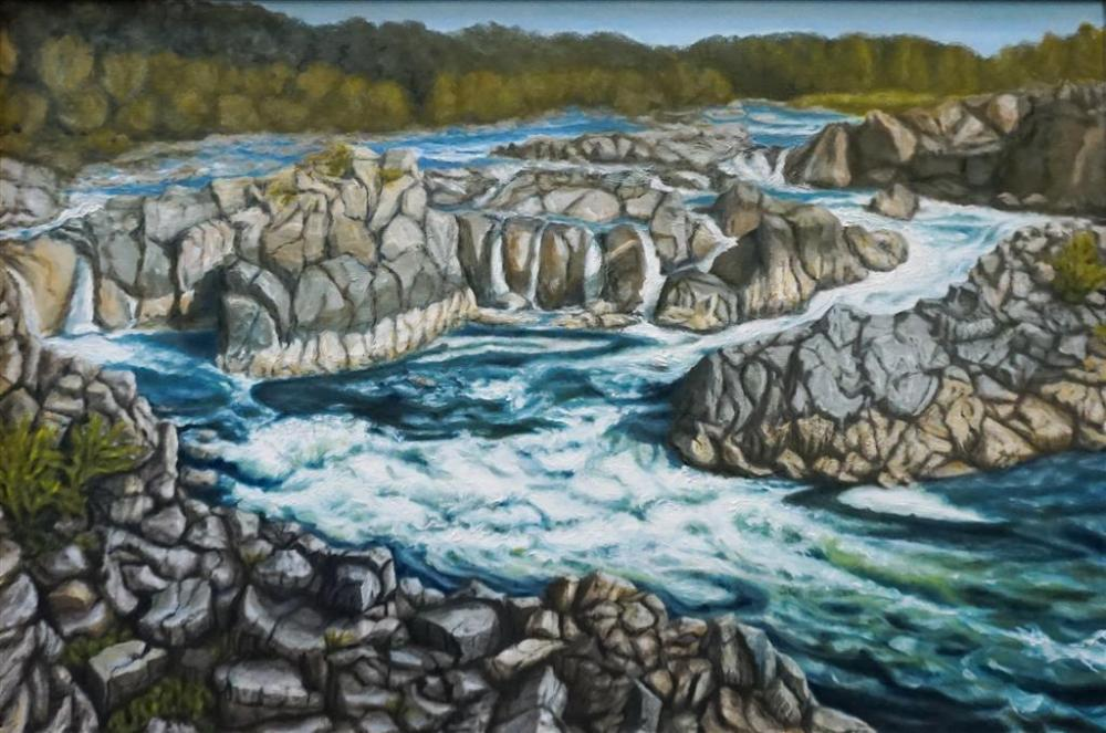 Ken Buchman, American 20th Century, Rapids at Great Falls, VA, Oil on Canvas, Framed, 26 x 38 in