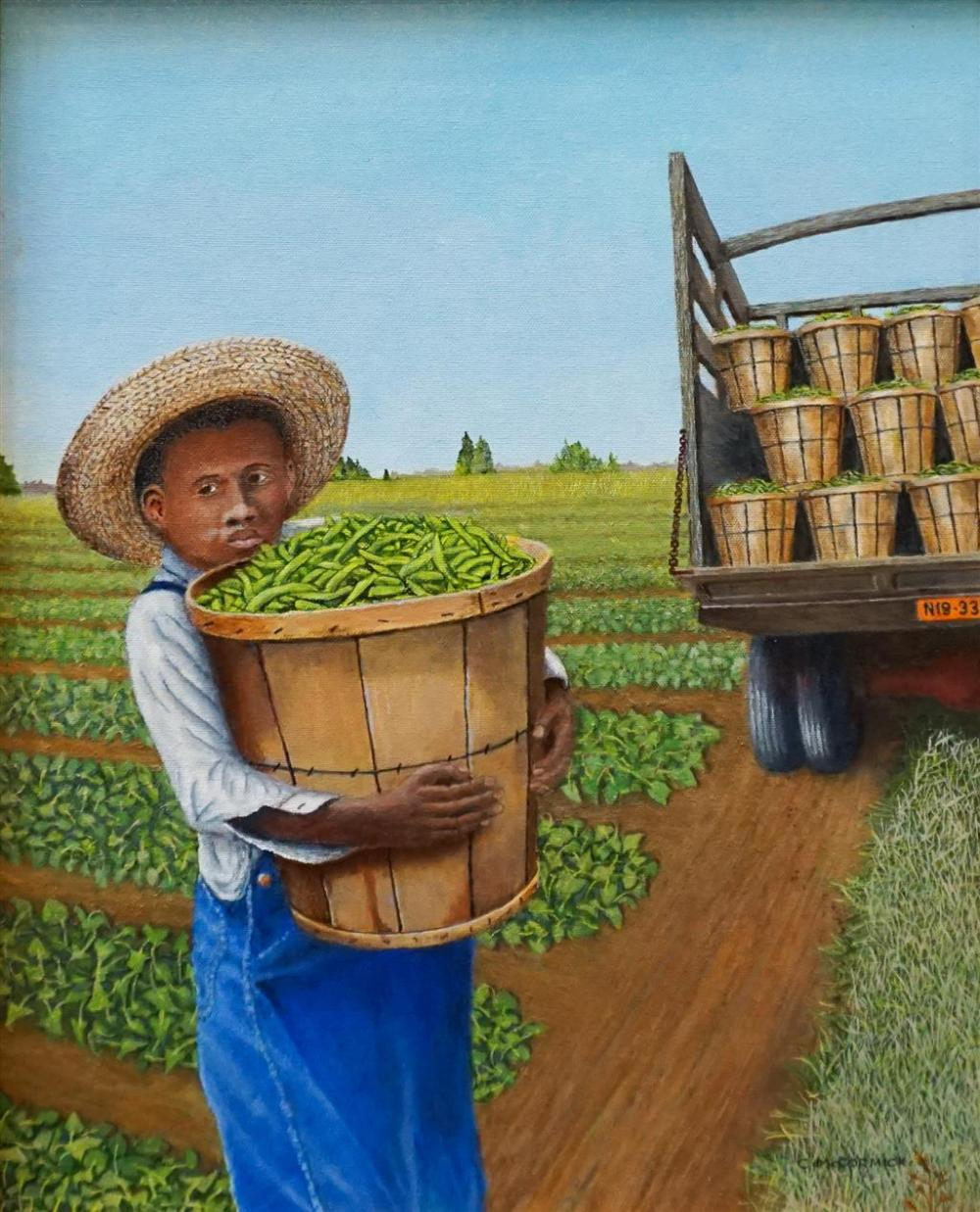 C P McCormick, Gathering the Harvest, Oil on Canvas, Frame: 23 x 18-7/8 in