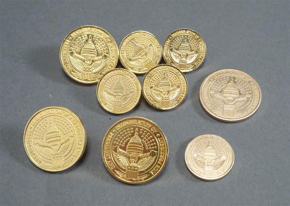 Two Ben Silver 14-Karat Yellow-Gold 'Reagan and Bush' Inaugural Medals (7.97 dwt) and Gold Plated Inaugural Seven-Piece Dress Set