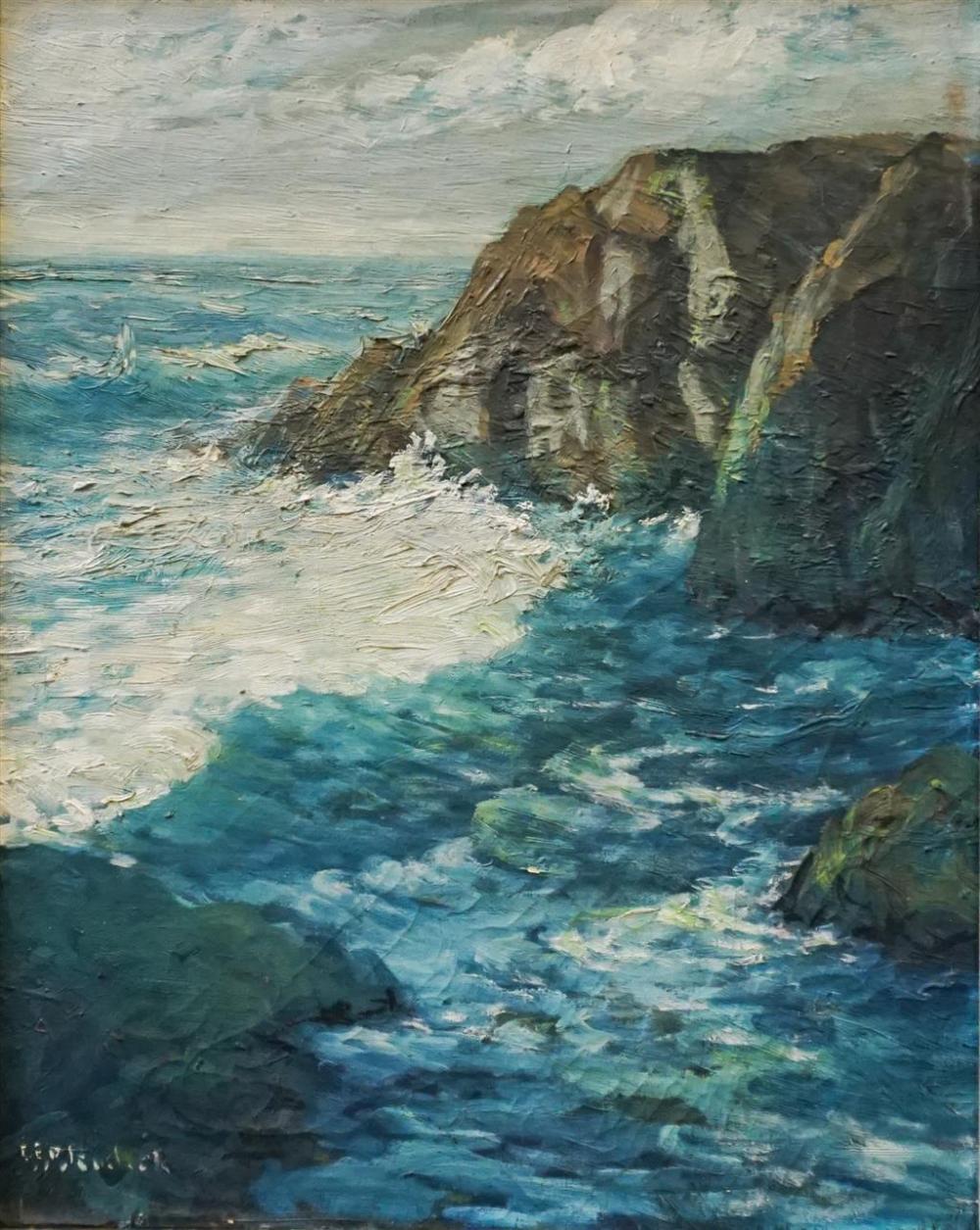 American School, 20th Century, New England Coastal Scene, Oil on Canvas, Signed l.l., Frame: 25 x 20-3/4 in