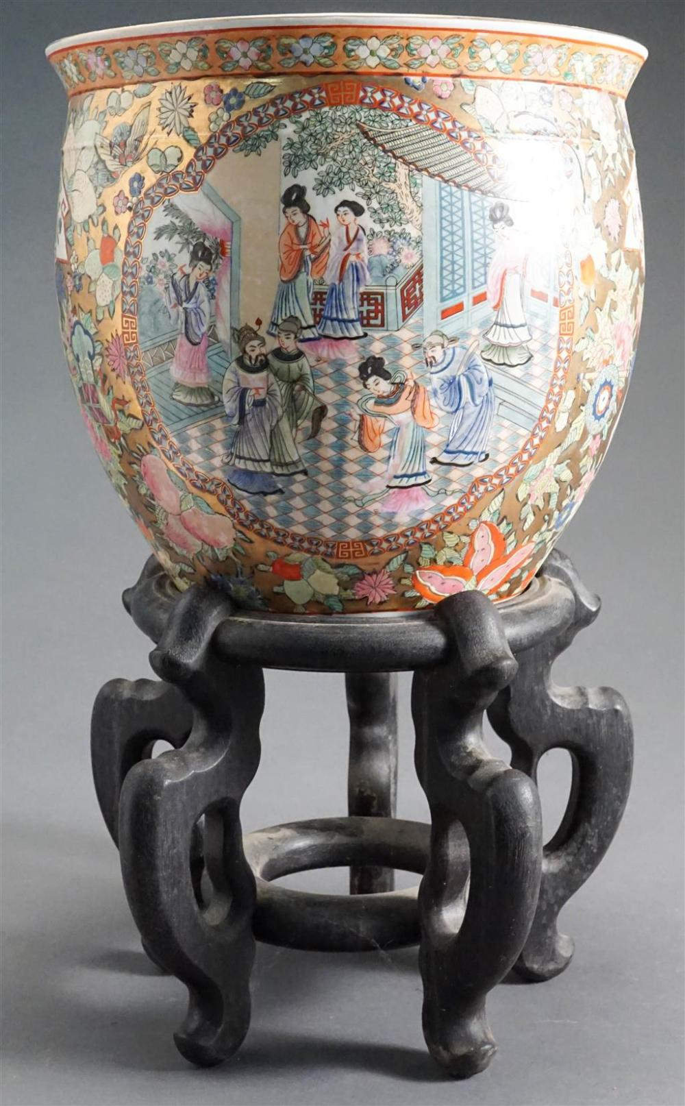 Chinese Export Type Rose Medallion Jardiniere on Wood Stand