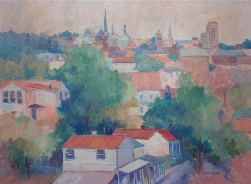 G. McCraw, Cityscape, Oil on Canvas, Frame: 22 x 28 in