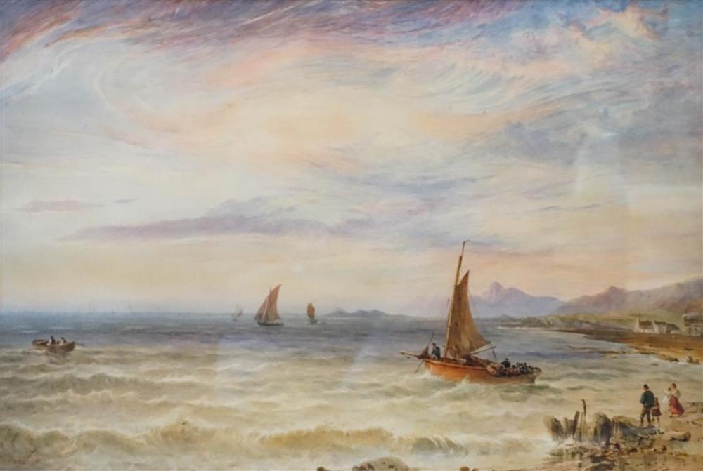 John Callow (British 1822 - 1878), Beach Scene at Sunset, Watercolor, Framed, 25-1/4 x 33-1/4 in
