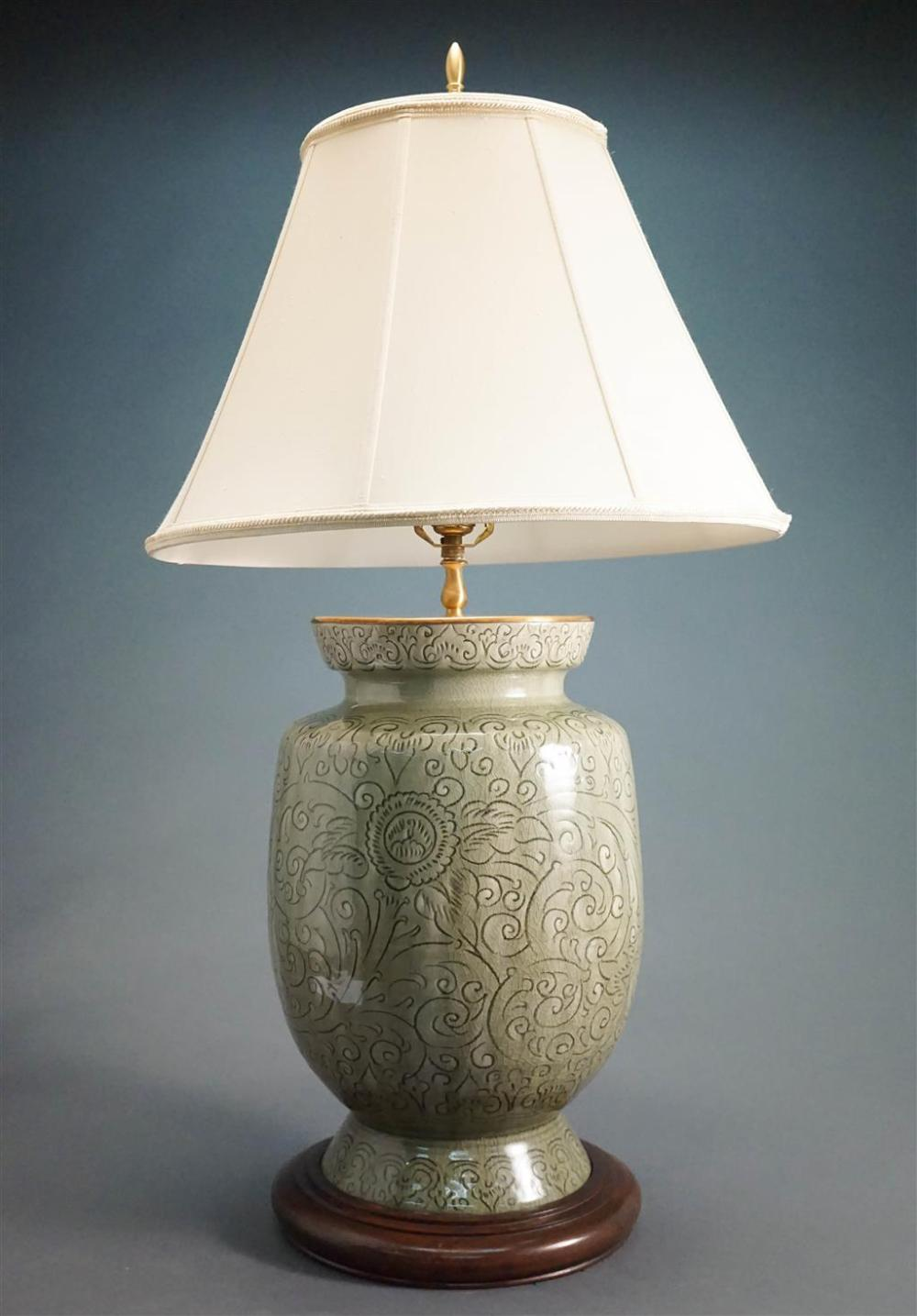 Thai Celadon Glazed Vase mounted as Lamp, H: 37 in
