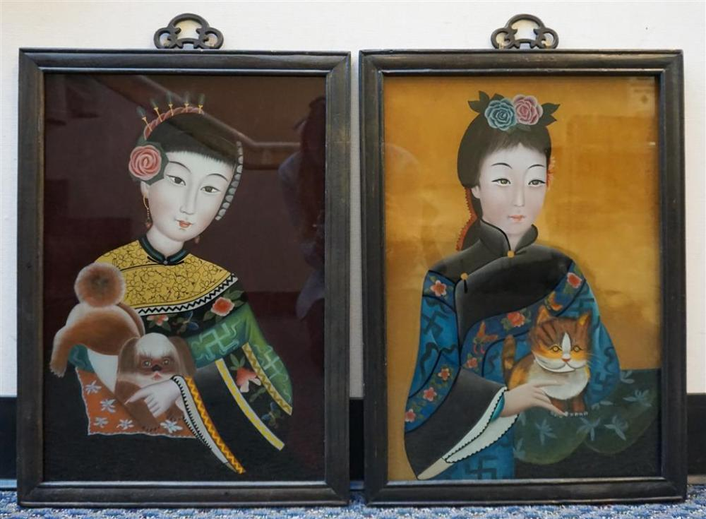 Pair of Chinese Reverse Painted Glass Portraits of Ladies, Frame: 20-1/2 x 15-1/2 in