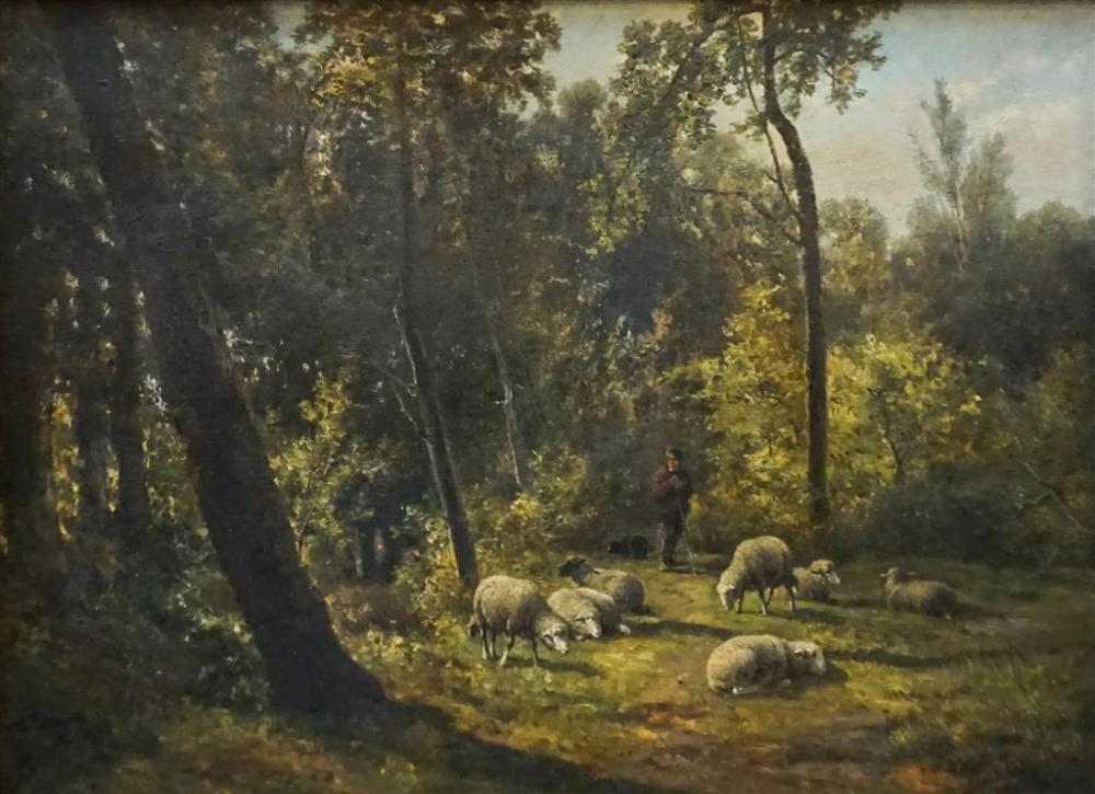 Cornelius Johannes de Dordrecht (Dutch, 19th Century) Shepherd with Sheep in a Forest Clearing, Oil on Canvas, 22 x 30 in