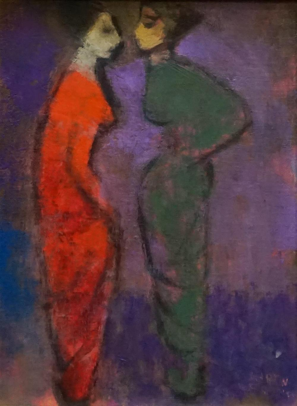 Martin Friedman (American 1896-1981), Two Figures, Oil on Canvas, Framed, 18 x 15 in