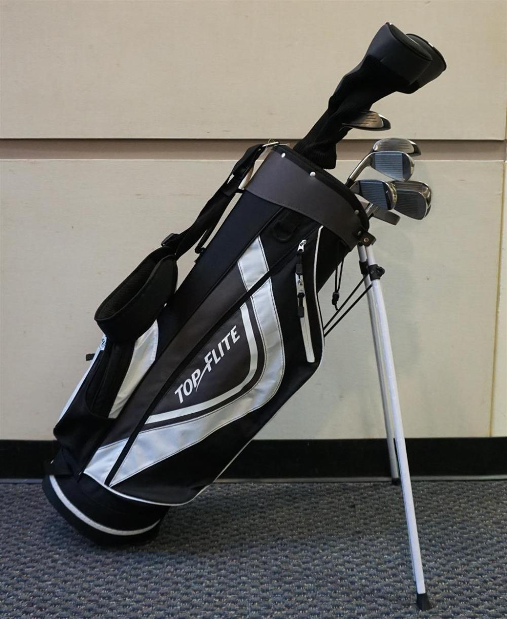 Top Elite Freestanding Black and White Nylon Golf Bag with Ten Right-Handed Senior Flex Clubs