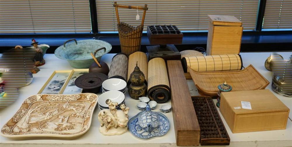 Woven Ceremonial Mats, Wood Boxes, Japanese Abacus, Porcelain, Etc.