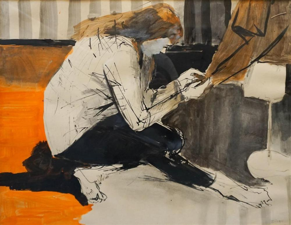 Elsa Goldsmith, American 20th Century, Making of a Gown, Ink and Watercolor on Paper, Framed, 23 x 39 in