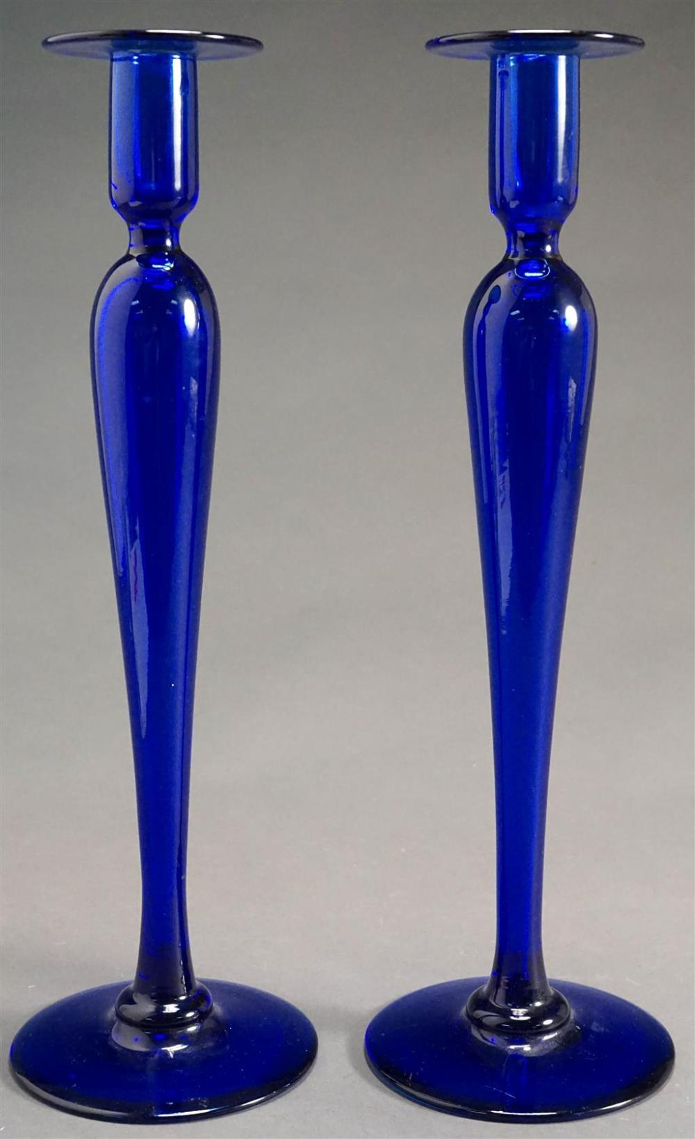 Pair of Pairpoint Cobalt Blue Glass Candlesticks, H: 16 in
