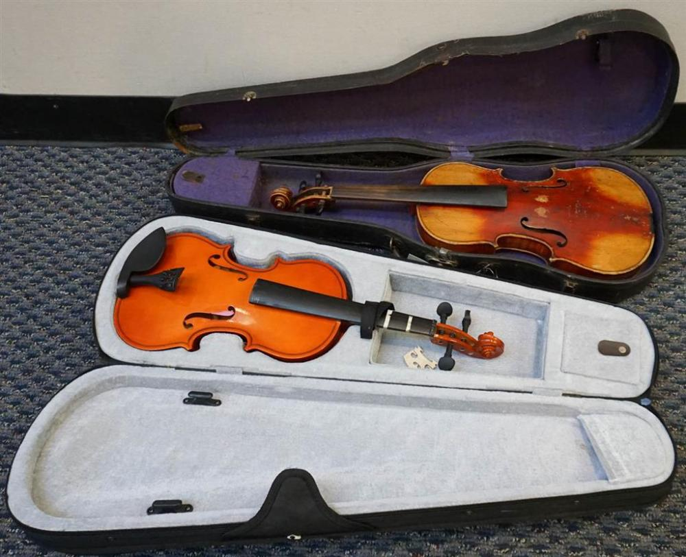Two Unstrung Distressed Stained Maple Violin Bodies with Hardshell Travel Cases, L overall of larger: 30-5/8 in